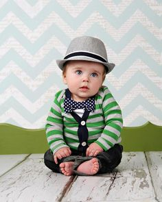 If it's a BOY... Cardigan Onesie and Bow Tie Onesie Set  Green with by HaddonCo, $40.00