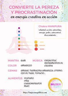 Cómo convertir la procrastinación en energía creativa y acción para desbloquear el tercer chakra. #chakras #espiritualidad #energía #mujerenequilibrio