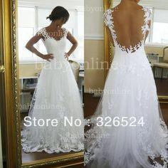nueva moda cariño escote cap mangas sin espalda de encaje apliques vestido de novia vestido de novia vestido