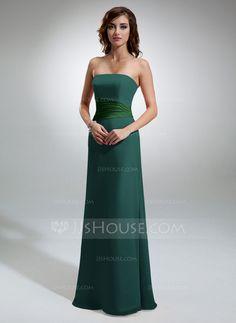 a0950c0c1e8a Sheath/Column Strapless Floor-Length Chiffon Bridesmaid Dress With Ruffle  (007001790)