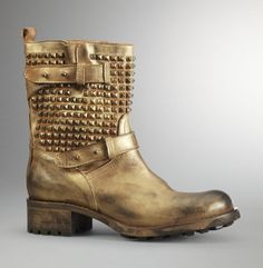 Stud-Fast Bootie - Kenneth Cole (I can crush on some studs and spray paint a boot too but I wouldn't skull it for times the price. Gold Leather, Leather Boots, Bootie Boots, Shoe Boots, Gold Boots, Comfortable Boots, Painting Leather, Me Too Shoes, Fashion Shoes