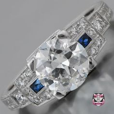 Art Deco Engagement Ring - Certified 1.49ct G/SI European-cut Diamond