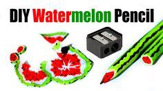 DIY Watermelon pencils! colored pencils! Back to school! Inspired by RAI...