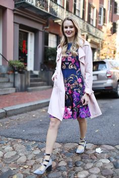 A mix of pinks, blues and neutrals... can't go wrong with a blush trench, floral prints and chunky (and strappy) velvet shoes