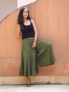 Wide Leg Pants  ...Skirt Pants  ...Color Green by Ablaa on Etsy, $28.00