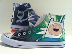 Finn and Marceline Shoes by marissascustomkicks on Etsy, $100.00