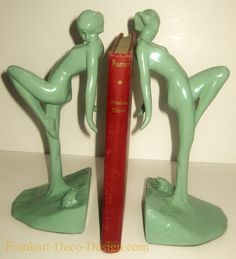 """Frankart Greenie Bookends found by Petie. """"Art Deco Bookends"""" in Green Greenie. A hard to find pair of bookends, these are a. A beautiful pair of a Nymphs with a Frog. Each : ( you receive a pair). Art Nouveau, Frog Art, Art Deco Furniture, Furniture Online, Luxury Furniture, Art Deco Pattern, Art Deco Design, Retro Design, Light Art"""