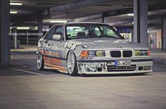 BMW E36 3 series silver deep dish slammed