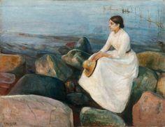 """la-belle-epoche: """"Edvard Munch (1863-1944) Inger på stranden (Inger at the Beach), 1889 Oil on canvas Munch Museet, Oslo """""""