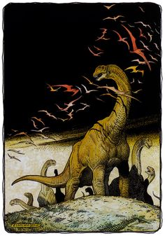 Camarasaurs, William Stout, 2002 It was the kind of morning where the sun struggled into the sky. The rains that had come before dawn were not violent storms per se, but the drops were big and cold and fell hard. They'd pelted the sauropods, tapped. Dinosaur Age, Dinosaur Photo, Dinosaur Pictures, Jurassic World Dinosaurs, Jurassic Park World, Extinct Animals, Prehistoric Creatures, Prehistory, T Rex