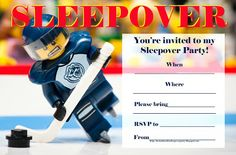 I am loving this sleepover party invitation that combines Lego with Ice Hockey - for boys - so if you are a fan of both, this is  perfect