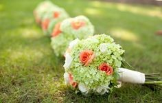 green hydrangea with coral wedding bouquets -- would look great with coral lilies or something similar instead of the roses