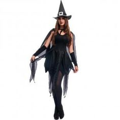 94afaa3c7d Fantasia de Halloween Feminina Adulta Bruxa Agnes Com Chapéu e Capa - Fantasias  carol fsp