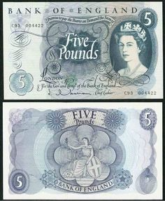 Great Britain Five Pounds with Queen Elizabeth Signed JQ Hol – Giamer Antiques and Collectibles Queen Elizabeth 2, Old British Coins, Bank Of England, Old Money, My Childhood Memories, British History, Great Britain, Graffiti, Retro