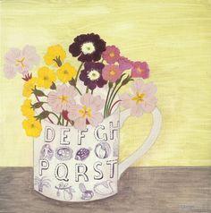 'Ravilious cup and pink primrose' Debbie George www.debbiegeorge.co.uk