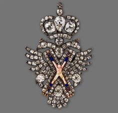 RUSSIA_Gold and diamonds' badge for the blue sash of the Imperial Order of Saint Andrew the First Apostle.