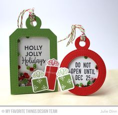 Gift Tag Greetings, Trim the Tree, Tag Builder Blueprints 4 Die-namics, Trim the Tree Die-namics - Julie Dinn #mftstamps