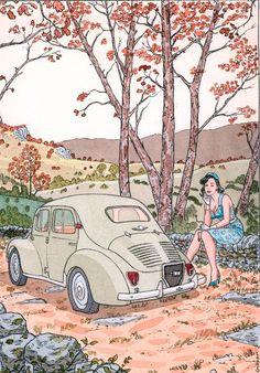 G O L D E N . C R E E K . S T U D I O Autumn Illustration, Car Illustration, Comic Book Artists, Comic Artist, Ex Libris, Ligne Claire, Car Drawings, Vintage Posters, Illustrators