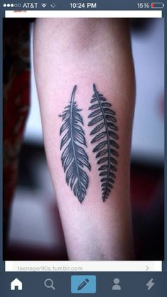 Feather and fern tattoo, classy natural simple tattoos so cool