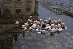 """Politicians discussing global warming"" sculpture in Berlin"