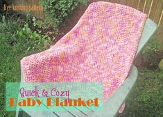 Materials: 500 yards of super bulky yarn. The sample was knit with Bernat baby Blanket in the color of Peachy Size 13 needle Yarn needle Gauge: Not given Stitches used: K = knit P = purl  Blanket: Cast On 63 stitches. Beginner border Row 1: K in each stitch across. Row 2: K 1, P1, across. Row 3-22: repeat rows 1 and 2 ten more times. Row 23: K 13, place marker, K 37, place marker, K last 13. Row 24: (K1, P1) repeat to maker, slip marker, P to next marker, (K1, P1) repeat to end…