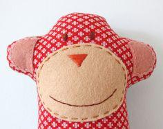 Stuffed Monkey Softie Fabric Animal Red Fabric by TheFoxintheAttic