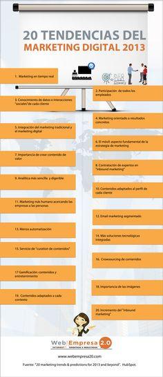20 tendencias marketing digital 2013 #infografia