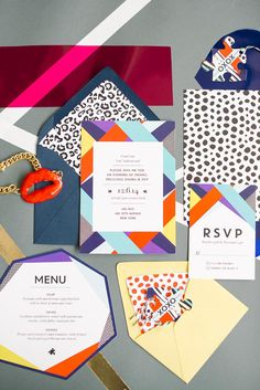 Colorful and Bold DVF-Inspired Wedding/Bridal Shower/Party Stationery Design, Invitation Design, Invitation Cards, Party Invitations, Branding Design, Invitation Suite, Fashion Invitation, Wedding Paper, Wedding Cards