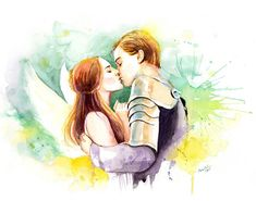 Watercolor painting - Romeo and Juliet Kissing - Movie poster inspired