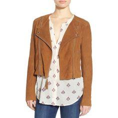 PAIGE Tiana Genuine Suede Moto Jacket ($300) ❤ liked on Polyvore featuring outerwear, jackets, suede jacket, moto jacket, fringed biker jacket, shawl collar jacket and paige denim jacket