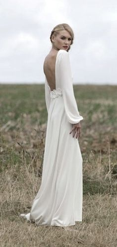 Wedding Gown NYC: Simple wedding dress. Love these sleeves, perfect for a cooler time of year