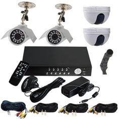"""VideoSecu 4 Channel Audio Video H.264 Network DVR Stand Alone Real Time Digital Video Recorder Security Surveillance Camera System with 1500GB/1.5TB 3.5"""" SATA Hard Drive, 2 Night Vision IR Color 6mm Lens CCD Outdoor Bullet Security Cameras, 2 Mini-Dome 3.6mm Lens CCD Surveillance CCTV Camera, 4 Pack Security Camera Extension Cables, 1 Pre-Amp Mini Hidden Microphone, One 4 Channel Power Supply.... $489.99. This complete professional grade network DVR with four ..."""