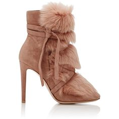 Gianvito Rossi Women's Moritz Suede & Fur Ankle Boots found on Polyvore featuring polyvore, women's fashion, shoes, boots, ankle booties, ankle boots, pink, pink suede boots, suede ankle booties and suede bootie