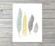 Boho Feathers Digital Print - Ethnic Tribal Decor - Sage Green Mustard Yellow Slate grey Light Taupe