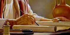 Servo fiel de Jeová sendo guiado pelo espírito santo para escrever um dos livros da bíblia