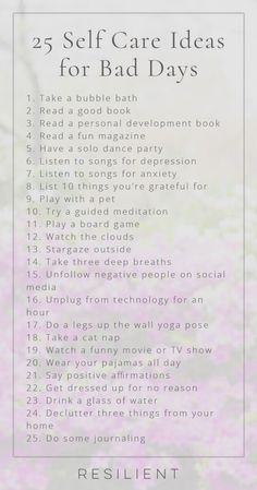 When bad days strike, it's nice to have a list of self care ideas you can pull o. - When bad days strike, it's nice to have a list of self care ideas you can pull o. When bad days strike, it's nice to have a list of self care ideas . Songs For Anxiety, Motivation, Depressing Songs, Personal Development Books, Self Care Routine, Gym Routine, Stress Management, Self Improvement, Self Help
