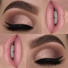 Soft Pink Lips + Glitter Eyes - https://www.luxury.guugles.com/soft-pink-lips-glitter-eyes/