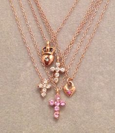 Dripping with jewels are these fabulous little necklaces in rose gold, diamonds & pink sapphire! by itsalittlething on Etsy https://www.etsy.com/listing/238123078/dripping-with-jewels-are-these-fabulous