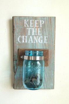 KEEP THE CHANGE Laundry room decor by shoponelove on Etsy. Would be an easy DIY and a really great idea for my laundry room Sharpie Crafts, Diy Crafts, Change Jar, Ideias Diy, Deco Design, Do It Yourself Home, My New Room, Dollar Stores, Tricks