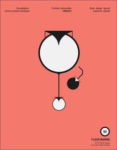 Affiche 09 -HIBOUX- Visualisation, Graphic, Vector Shapes, Minimalist Poster, Flowers