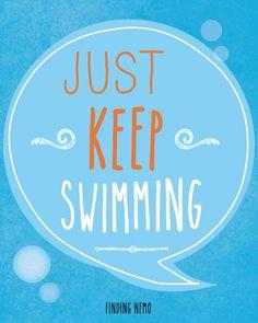 Finding Nemo, Typography Print, Quote Print, Movie Quote, Decorative, Film Quote - Just Keep Swimming (8x10) via Etsy