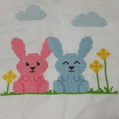 Handmade Cross Stitched Easter Bunny with Blue Egg Refrigerator Magnet