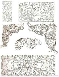Free Leather Tooling Patterns – Catalog of Patterns Leather Tooling Patterns, Leather Pattern, Leather Carving, Wood Carving Patterns, Carving Designs, Sculpture Sur Cuir, Dremel Projects, Metal Embossing, Leather Projects