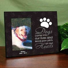 """Personalized """"Leave Paw Prints on our Heart"""" Pet Frame - Gifts Happen Here"""