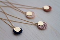 cute necklace -crochet circle topped with metal disc