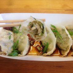 Choy Sum, Bok shiitake mushroom, spring onion & ginger dumplings | Pot Sticker Dumpling Bar | The Colombo Dumplings, Onion, Stuffed Mushrooms, Sticker, Bar, Spring, Ethnic Recipes, Food, Stuff Mushrooms
