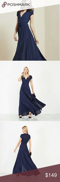 "Reformation lake dress sapphire xs 0 wrap maxi Nwt lake dress in sapphire 0xs. Never worn. Retail $328. Viscose. 60"" long. Reformation Dresses Maxi"