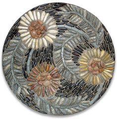 Graphic design, pebble mosaics, and lanterns by Kathleen Doody Mosaic Rocks, Mosaic Stepping Stones, Pebble Mosaic, Pebble Art, Mosaic Art, Mosaic Glass, Mosaic Tiles, Pebble Stone, Stone Art