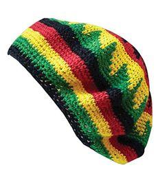 ce39162c0a2 Inspirit Arts Tam Beret Hat Reggae Hand Made Crochet Knit Slouchy Dreadlock  Cap Multi-color