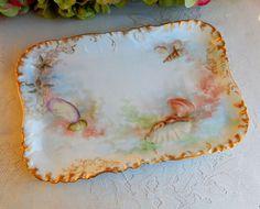 Antique #Limoges Porcelain Hand Painted Platter Sealife Oyster Shells Gold Gilt #HavilandLimoges